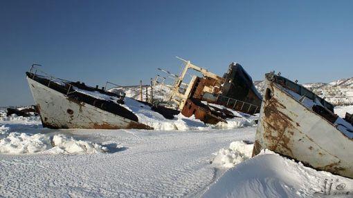 Cementerio de barcos de Kamchatka.