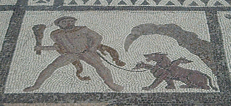 Hércules y Cerbero. Mosáico romano de los doce trabajos, de Liria (Valencia)