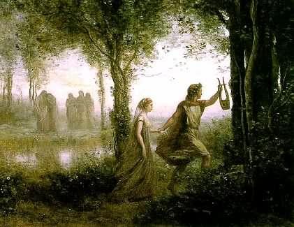 Personajes de la mitología. Orfeo y Eurídice.