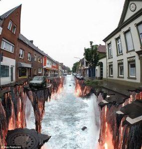 Edgar Müller, arte callejero en 3D.