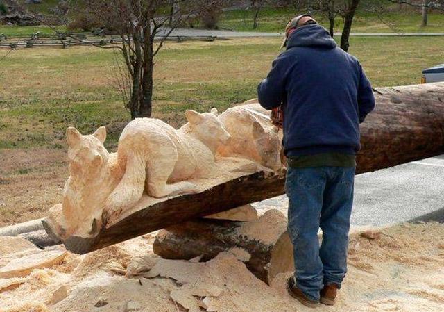 Usando como herramienta una motosierra, Randall Boni esculpe árboles ...