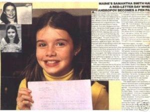 Samantha Smith, la niña que con su carta suavizó la guerra fría.