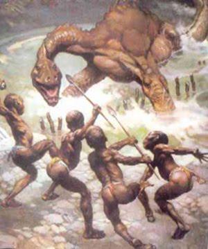 hombres matando dinosaurios
