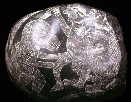 Hombre convivio con dionsaurios - Piedras de Ica
