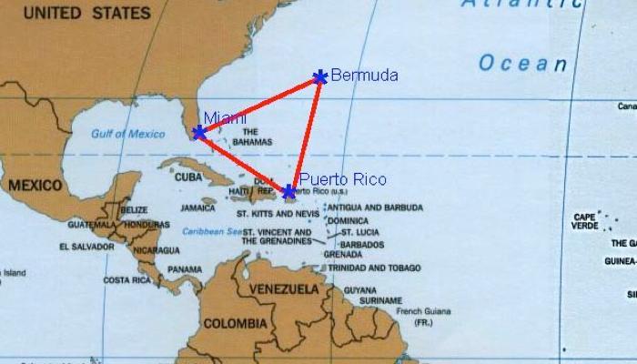 Localizacion del Triangulo de las Bermudas